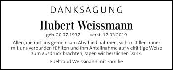 Traueranzeige für Hubert Weissmann vom 16.05.2019 aus Kleine Zeitung