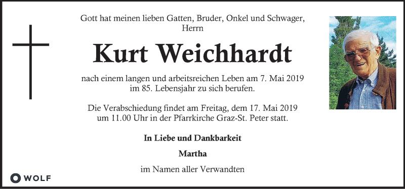 Traueranzeige für Kurt Weichhardt vom 14.05.2019 aus Kleine Zeitung
