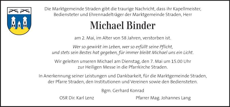Traueranzeige für Michael Binder vom 05.05.2019 aus Kleine Zeitung