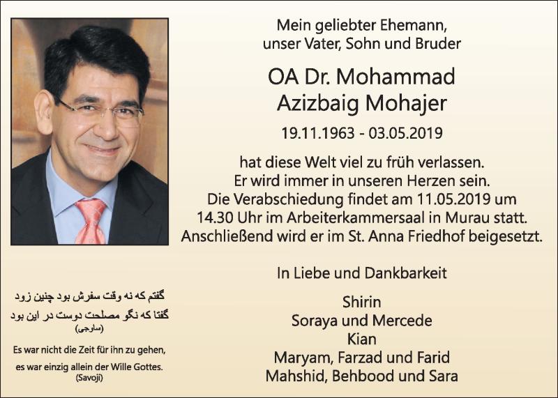 Traueranzeige für Mohammad Azizbaig Mohajer vom 08.05.2019 aus Kleine Zeitung