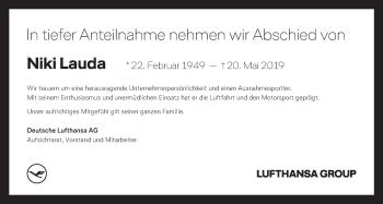 Traueranzeige für Niki Lauda vom 24.05.2019 aus Kleine Zeitung