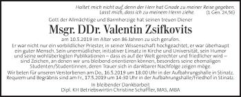 Traueranzeige für Valentin Zsifkovits vom 14.05.2019 aus Kleine Zeitung