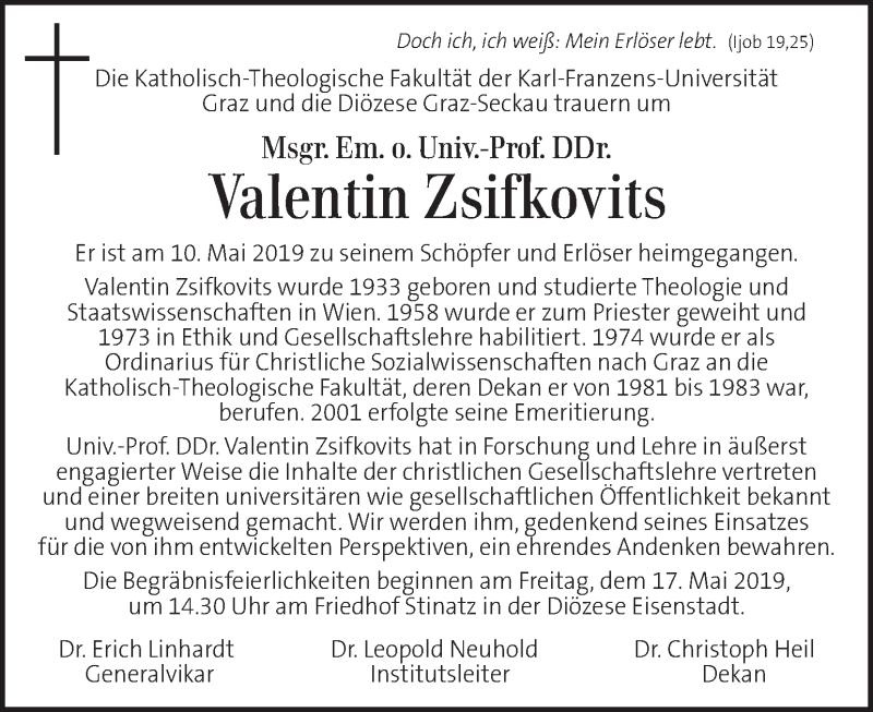 Traueranzeige für Valentin Zsifkovits vom 16.05.2019 aus Kleine Zeitung