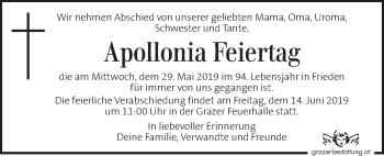 Traueranzeige für Apollonia Feiertag vom 12.06.2019 aus Kleine Zeitung