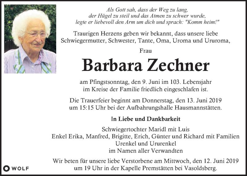 Traueranzeige für Barbara Zechner vom 12.06.2019 aus Kleine Zeitung