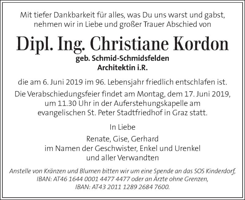 Traueranzeige für Christiane Kordon vom 12.06.2019 aus Kleine Zeitung