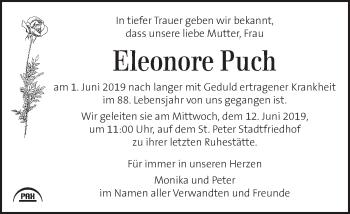Traueranzeige für Eleonore Puch vom 05.06.2019 aus Kleine Zeitung