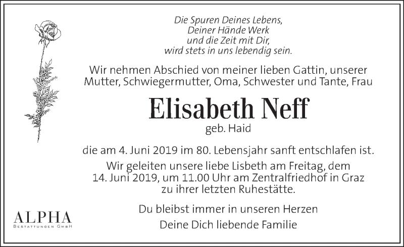Traueranzeige für Elisabeth Neff vom 11.06.2019 aus Kleine Zeitung