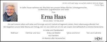 Traueranzeige für Erna Haas vom 12.06.2019 aus Kleine Zeitung