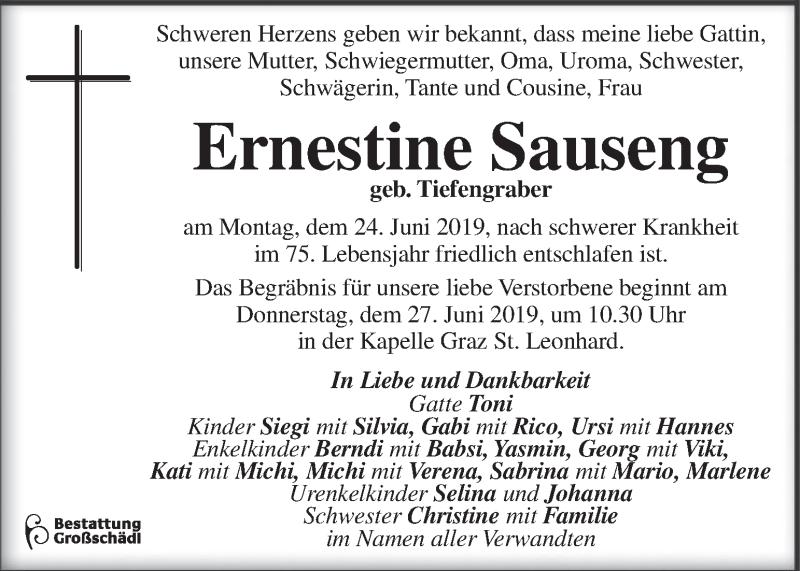 Traueranzeige für Ernestine Sauseng vom 26.06.2019 aus Kleine Zeitung