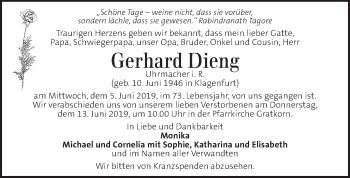Traueranzeige für Gerhard Dieng vom 09.06.2019 aus Kleine Zeitung