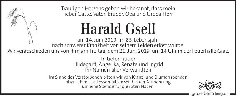 Traueranzeige für Harald Gsell vom 19.06.2019 aus Kleine Zeitung
