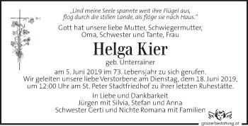 Traueranzeige für Helga Kier vom 12.06.2019 aus Kleine Zeitung