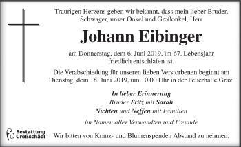 Traueranzeige für Johann Eibinger vom 12.06.2019 aus Kleine Zeitung