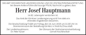 Traueranzeige für Josef Hauptmann vom 14.06.2019 aus Kleine Zeitung
