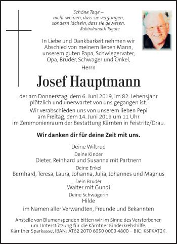 Traueranzeige für Josef Hauptmann vom 12.06.2019 aus Kleine Zeitung