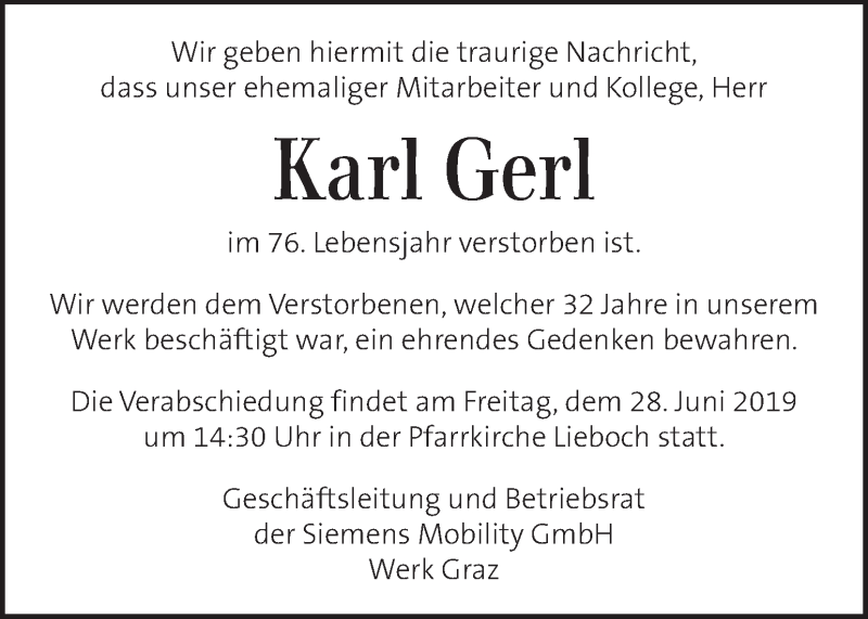 Traueranzeige für Karl Gerl vom 26.06.2019 aus Kleine Zeitung