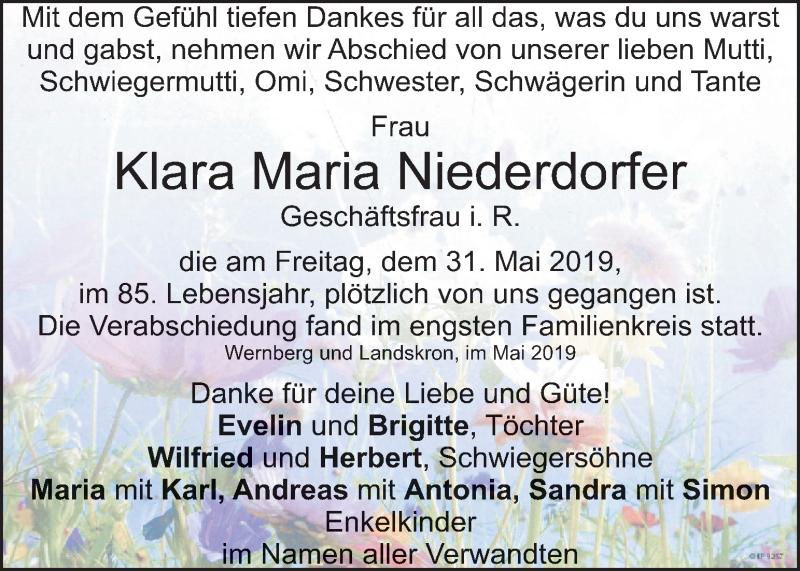 Traueranzeige für Klara Maria Niederdorfer vom 08.06.2019 aus Kleine Zeitung