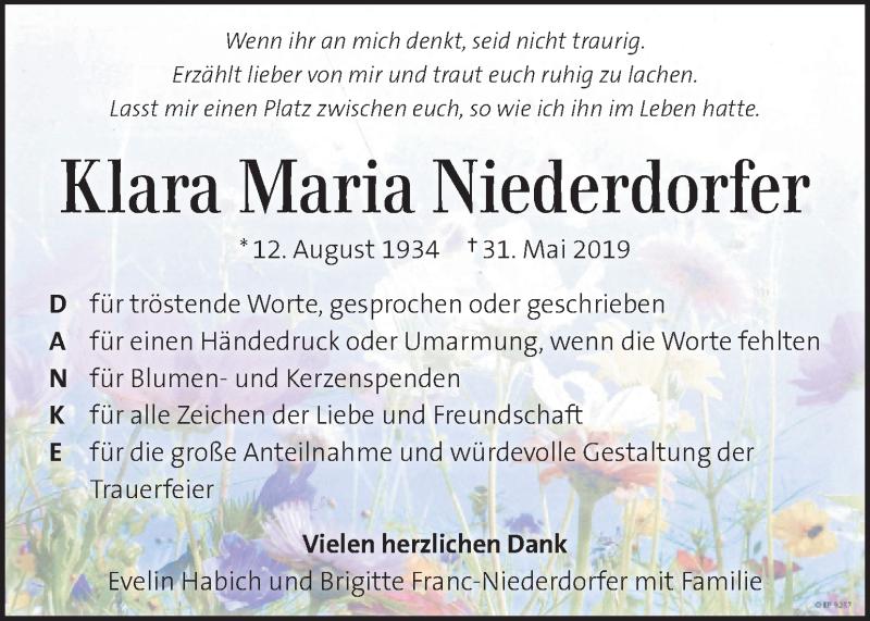 Traueranzeige für Klara Maria Niederdorfer vom 20.06.2019 aus Kleine Zeitung