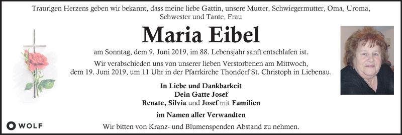 Traueranzeige für Maria Eibel vom 15.06.2019 aus Kleine Zeitung