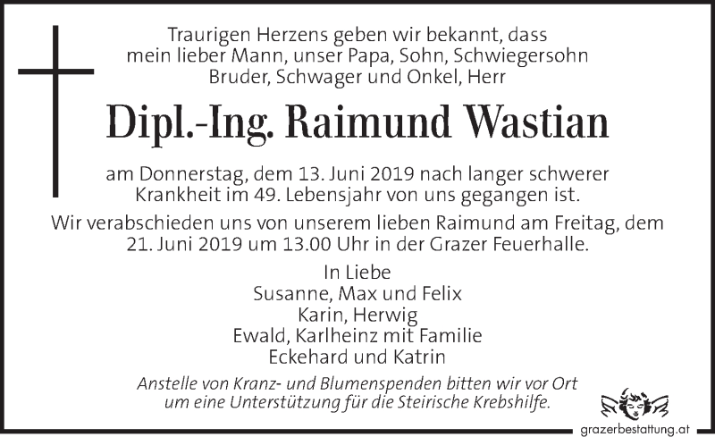 Traueranzeige für Raimund Wastian vom 19.06.2019 aus Kleine Zeitung