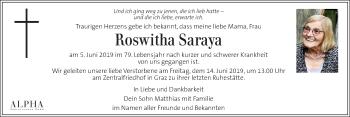 Traueranzeige für Roswitha Saraya vom 12.06.2019 aus Kleine Zeitung