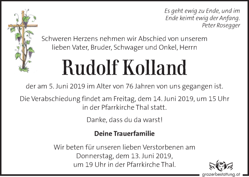 Traueranzeige für Rudolf Kolland vom 12.06.2019 aus Kleine Zeitung