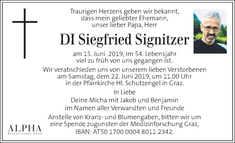 Traueranzeige für Siegfried Signitzer vom 19.06.2019 aus Kleine Zeitung
