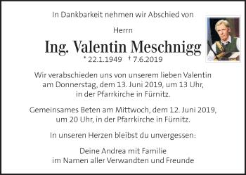 Traueranzeige für Valentin Meschnigg vom 12.06.2019 aus Kleine Zeitung