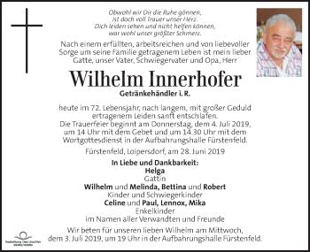 Traueranzeige für Wilhelm Innerhofer vom 30.06.2019 aus Kleine Zeitung