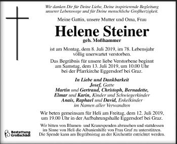 Traueranzeige für Helene Steiner vom 11.07.2019 aus Kleine Zeitung