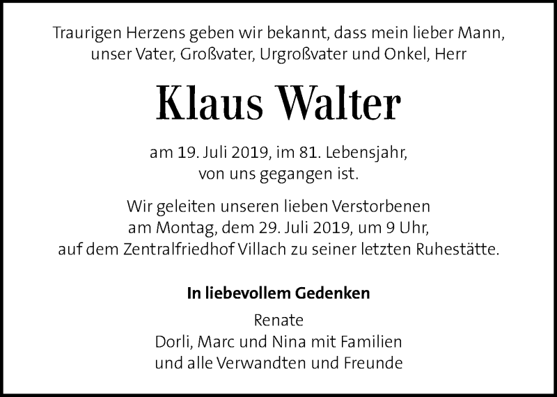 Traueranzeige für Klaus Walter vom 26.07.2019 aus Kleine Zeitung
