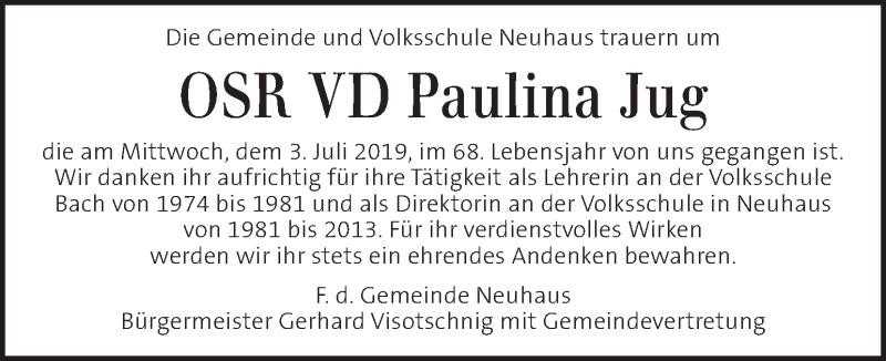 Traueranzeige für Paulina Jug vom 10.07.2019 aus Kleine Zeitung