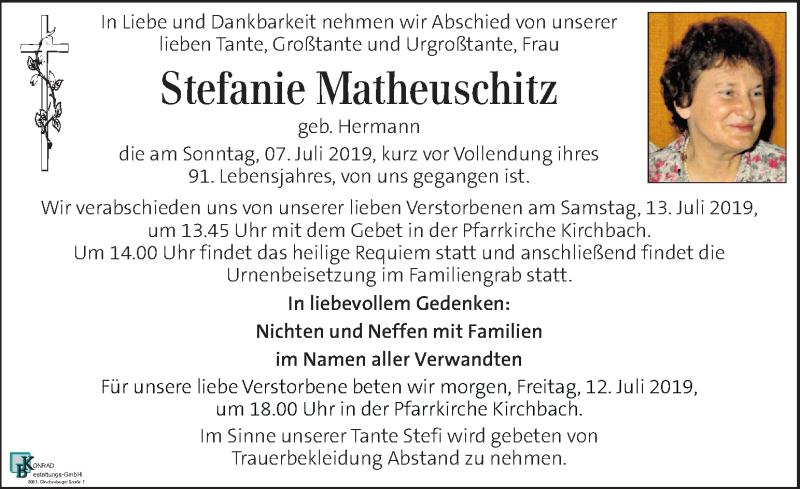 Traueranzeige für Stefanie Matheuschitz vom 11.07.2019 aus Kleine Zeitung