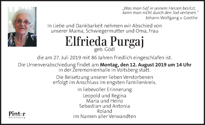 Traueranzeige für Elfrieda Purgaj vom 09.08.2019 aus Kleine Zeitung