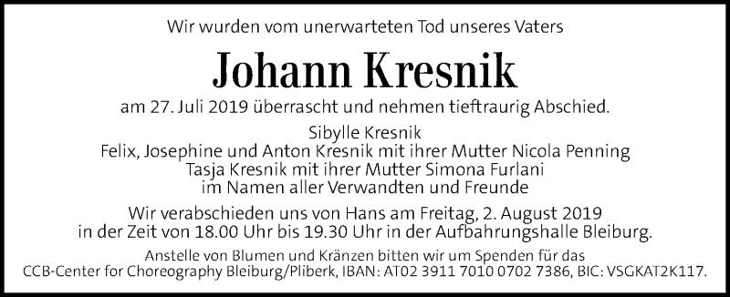Traueranzeige für Johann Kresnik vom 02.08.2019 aus Kleine Zeitung