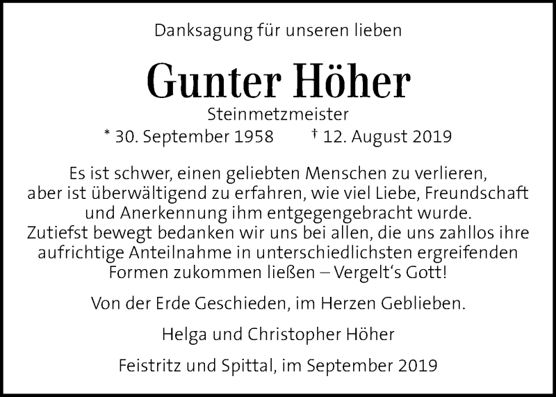 Traueranzeige für Gunter Höher vom 20.09.2019 aus Kleine Zeitung