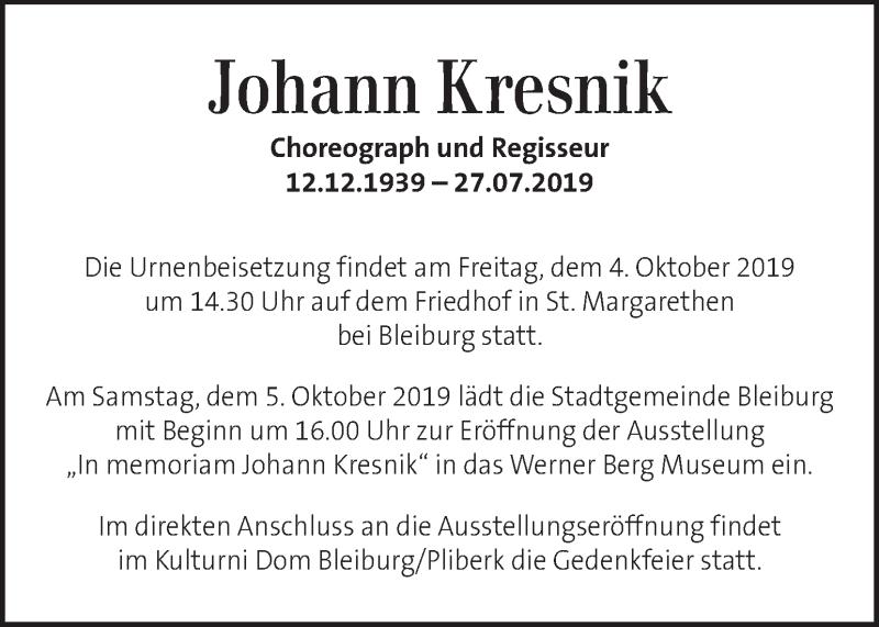 Traueranzeige für Johann Kresnik vom 01.10.2019 aus Kleine Zeitung