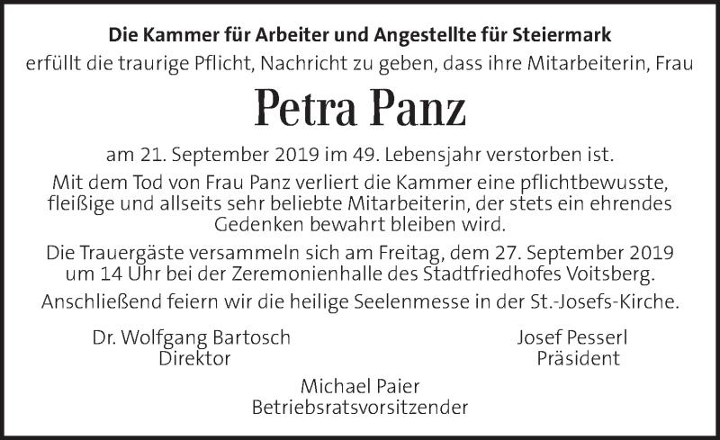 Traueranzeige für Petra Panz vom 26.09.2019 aus Kleine Zeitung