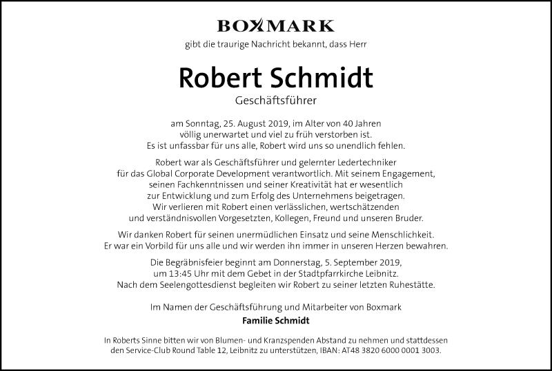 Traueranzeige für Robert Schmidt vom 04.09.2019 aus Kleine Zeitung