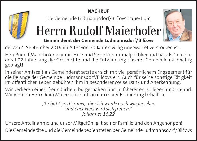 Traueranzeige für Rudolf Maierhofer vom 07.09.2019 aus Kleine Zeitung