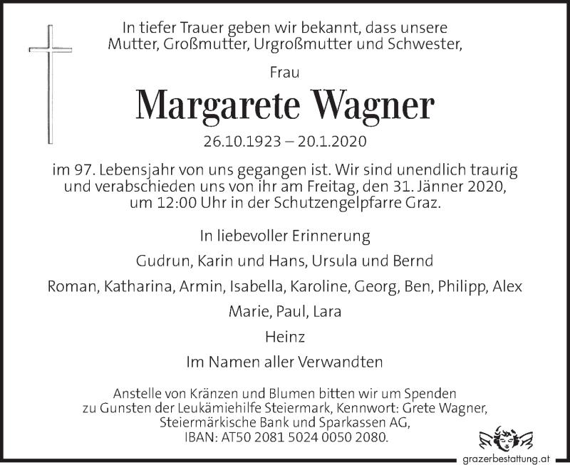 Anzeige von  Margarete Wagner