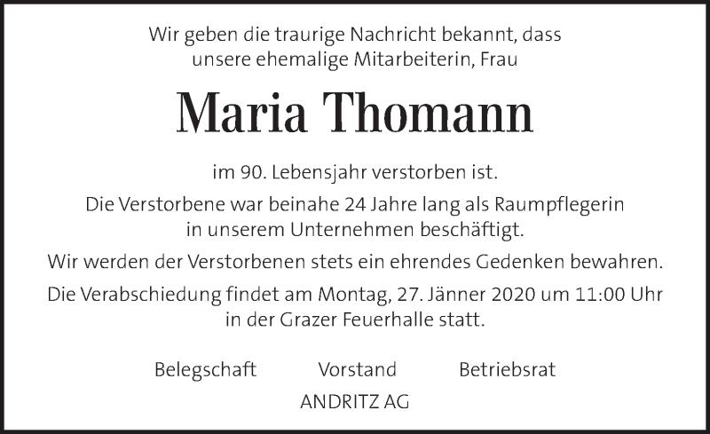 Anzeige von  Maria Thomann
