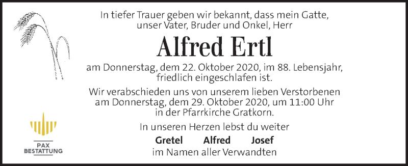 Traueranzeige für Alfred Ertl vom 28.10.2020 aus Kleine Zeitung