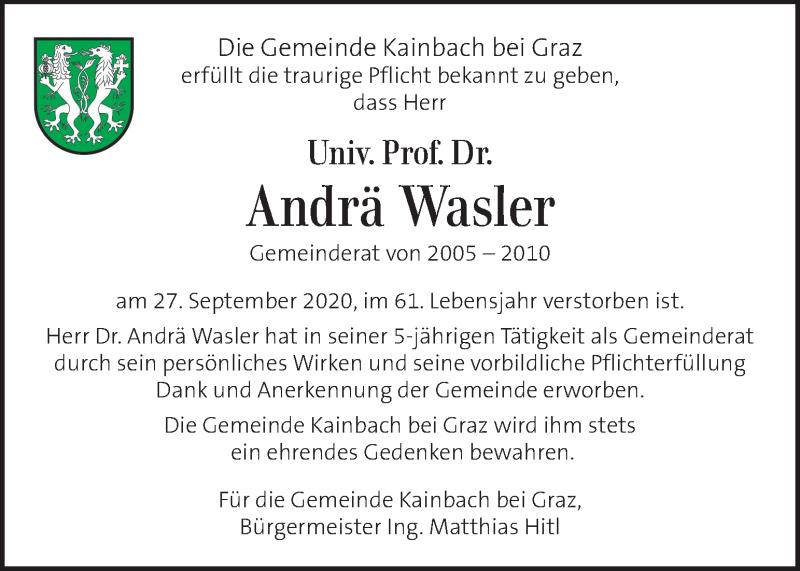 Traueranzeige für Andrä Wasler vom 02.10.2020 aus Kleine Zeitung