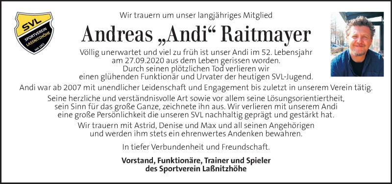 Traueranzeige für Andreas Raitmayer vom 06.10.2020 aus Kleine Zeitung