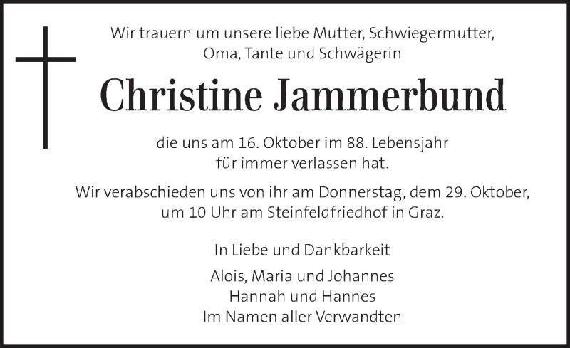 Traueranzeige für Christine Jammerbund vom 25.10.2020 aus Kleine Zeitung