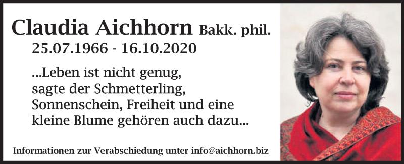 Traueranzeige für Claudia Aichhorn  vom 20.10.2020 aus Kleine Zeitung