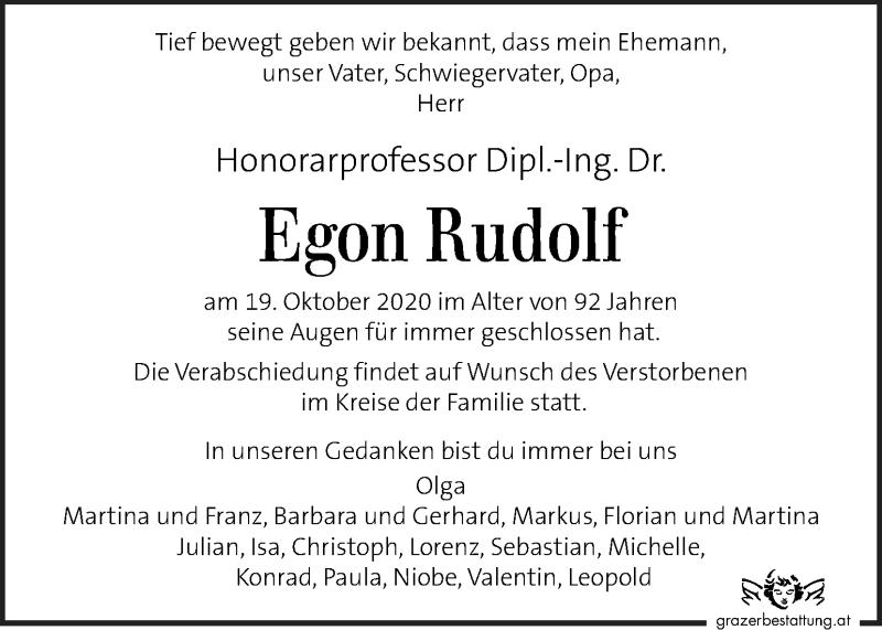 Traueranzeige für Egon Rudolf vom 23.10.2020 aus Kleine Zeitung