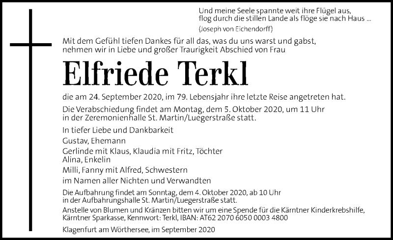 Traueranzeige für Elfriede Terkl vom 03.10.2020 aus Kleine Zeitung